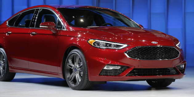 The 2017 Ford Fusion is displayed at the North American International Auto Show in Detroit, Jan. 11, 2016.