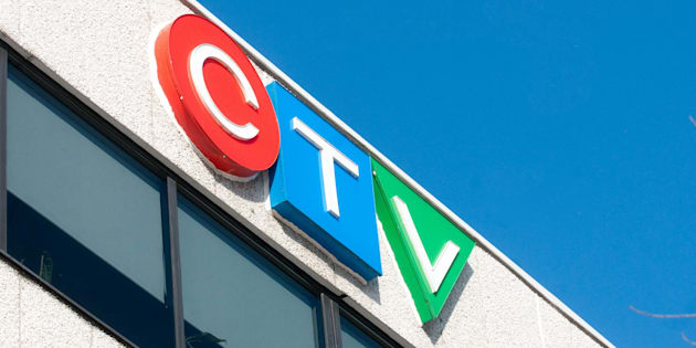 The CTV logo sits atop the company's Montreal offices.