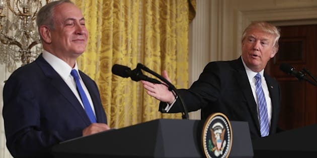 President Donald Trump greets Israeli Prime Minister Benjamin Netanyahu after a joint news conference at the White House on Feb. 15, 2017.