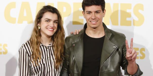 Amaia Romero y Alfred García, durante el estreno de la película 'Campeones' en Madrid el 3 de abril de 2018.