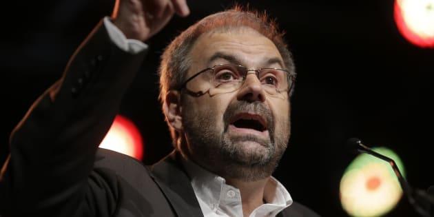 François Chérèque durant un discours pour l'ouverture du congrès de la CFDT à Paris le 28 novembre 2012.