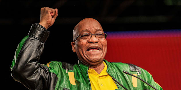South African President Jacob Zuma gestures during his closing remarks at the end of the ANC policy conference in Johannesburg on July 5 2017.