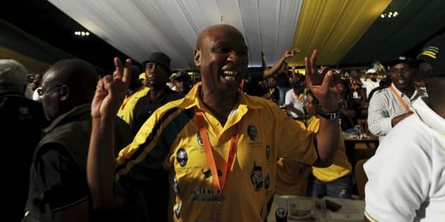 Zizi Kodwa showing his support for Jacob Zuma's re-election at the University of the Freestate in 2012.  Photo by Felix Dlangamandla/ Foto24 / Gallo Images / Getty Images