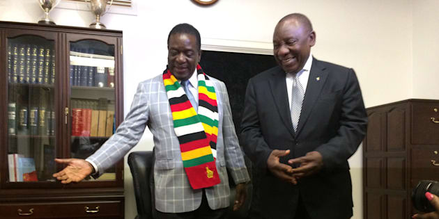 HARARE, ZIMBABWE - MARCH 17: Newly elected South African President Cyril Ramaphosa (R) meets with his Zimbabwean counterpart Emerson Mnangagwa (L) during his visit in Harare, Zimbabwe on March 17, 2018. (Photo by John Cassim/Anadolu Agency/Getty Images)