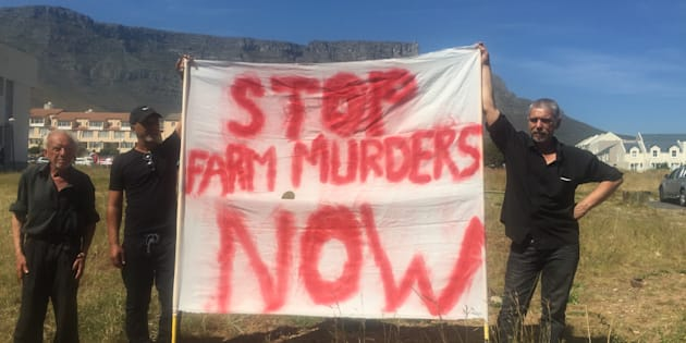 "Farmers and community members during the ""Genoeg is genoeg"" protest against a perceived increase in farm murders on October 30 2017 in Cape Town."