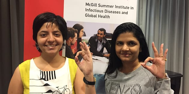 Nandita Venkatesan (left) and Deepti Chavan (right), TB survivors and patient advocates from India, spent two weeks at McGill University, Montreal, and spoke in three courses in the Summer Institute in Infectious Diseases & Global Health.
