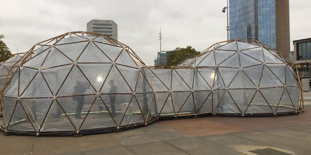 The air pollution pods installed by artist Michael Pinsky in Geneva.