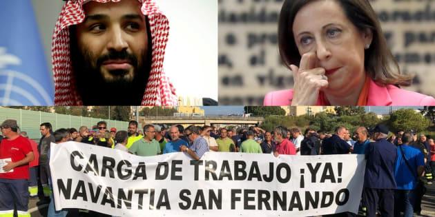 El príncipe Salman, heredero de Arabia Saudí; la ministra de Defensa de España, Margarita Robles, y los trabajadores de Navantia en San Fernando, en una protesta.