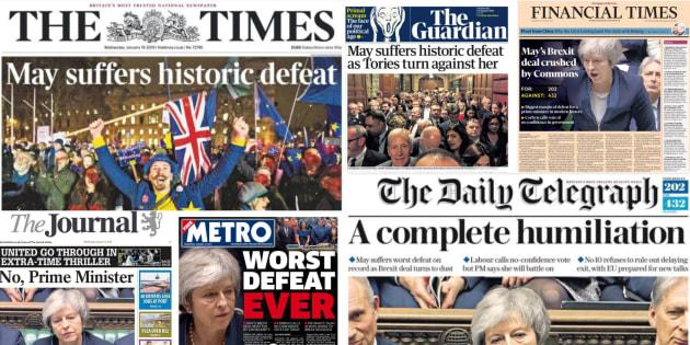 Las portadas de la derrota de May en el Parlamento de Londres.