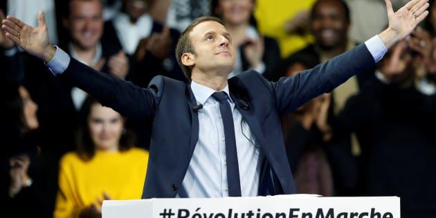 Emmanuel Macron, le leader fondateur du mouvement En Marche !, candidat à l'élection présidentielle 2017, lors de son meeting à Paris Porte de Versailles, le 10 décembre 2016.