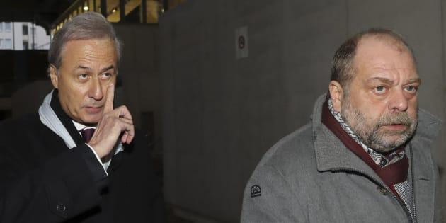 Georges Tron et son avocat Eric Dupond-Moretti, le 12 décembre au tribunal de Bobigny.