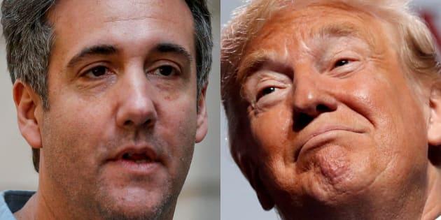 Michael Cohen, el abogado, y Donald Trump, el presidente de EEUU, en sendas imágenes de archivo.