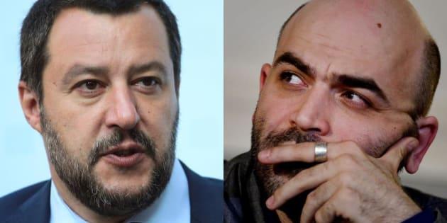 Matteo Salvini, el ministro del Interior de Italia, y Roberto Saviano, escritor, en sendas imágenes de archivo.