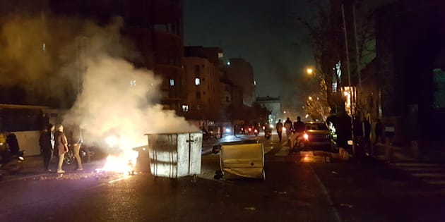 People protest in Tehran, Iran December 30, 2017 in this picture obtained from social media