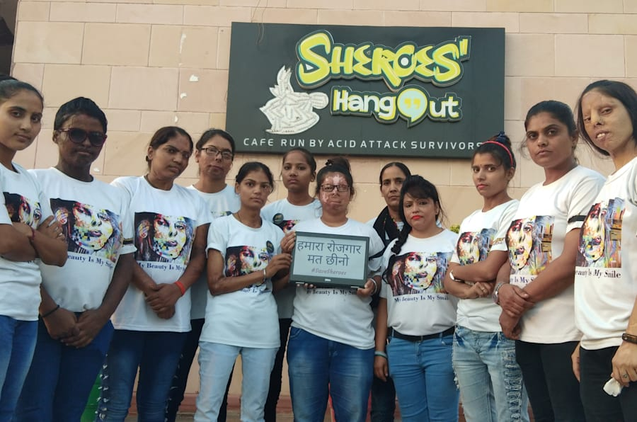 Acid attack survivors at Sheroes' Hangout in Lucknow.