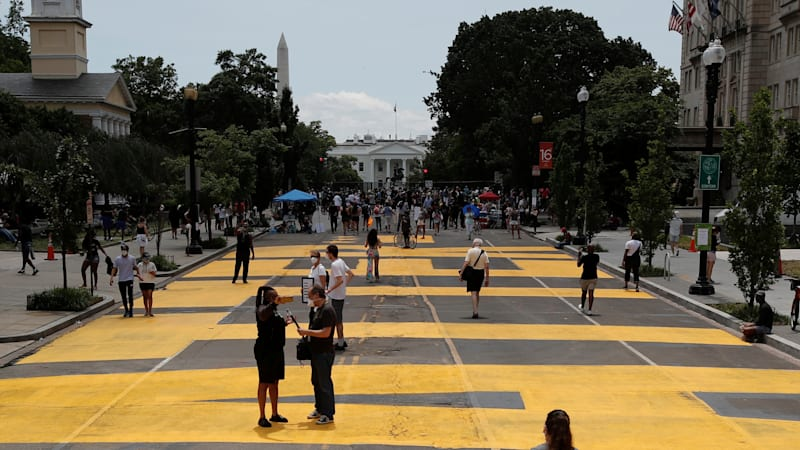 D.C. mayor paints 'Black Lives Matter' on street for Trump to see