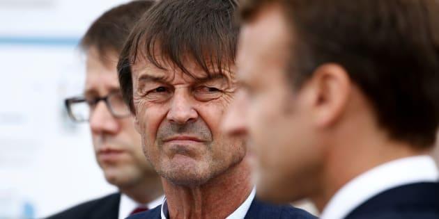 Le ministre de la Transition écologique Nicolas Hulot en déplacement avec le président Emmanuel Macron.
