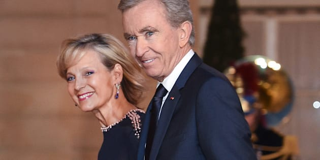 Bernard Arnault and wife Helene Arnault arrive for a state dinner at the Elysee Presidential Palace, March 25, 2019 in Paris, France.