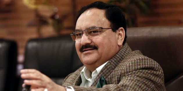 India's Health Minister J.P. Nadda speaks during an interaction with the media at his office in New Delhi.
