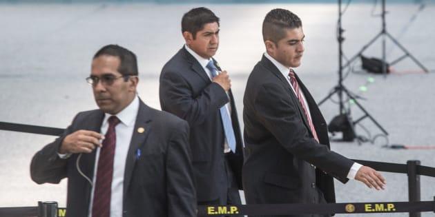 Elementos del Estado Mayor Presidencial, resguardan un evento del presidente Enrique Peña Nieto, en Ciudad de México, el 4 de julio de 2018.