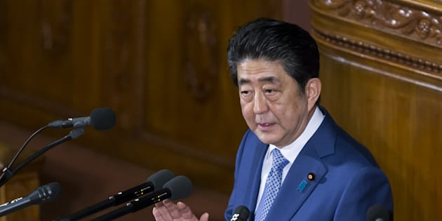 Shinzo Abe, Japan's prime minister, delivers his policy speech during a plenary session at the lower house of parliament in Tokyo, Japan, on Monday, Jan. 22, 2018. A plan and timing for reaching primary surplus will be unveiled by summer, Abe said in a speech to mark the beginning of the new parliamentary session. Photographer: Tomohiro Ohsumi/Bloomberg via Getty Images