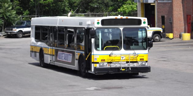 A New Flyer bus belonging to MBTA, the Boston area's transit authority. New Flyer says it is moving 90 jobs from Winnipeg to Kentucky because of more stringent U.S. content rules for buses bought with federal funds.