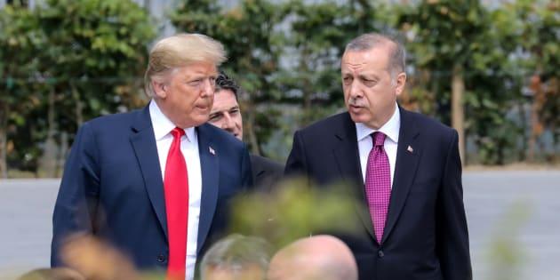 Donald Trump et Recep Tayyip Erdogan lors du sommet de l'Otan, le 11 juillet à Bruxelles.