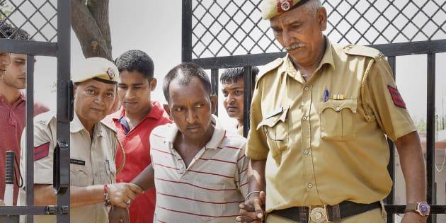 GURUGRAM, INDIA - SEPTEMBER 9: Police arrest accused Ashok for the murder of 7-year-old child, on September 9, 2017 in Gurugram, India.