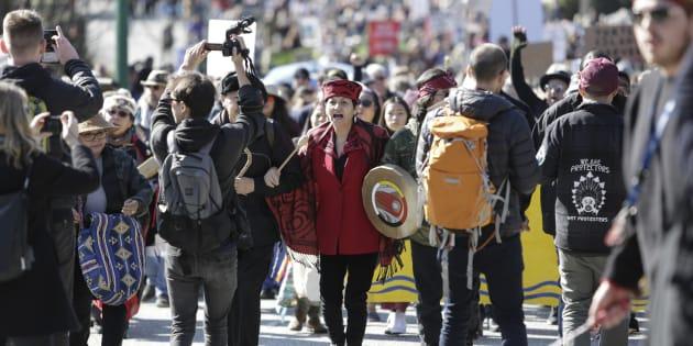 Une manifestation semblable avait eu lieu en mars en Colombie-Britannique.
