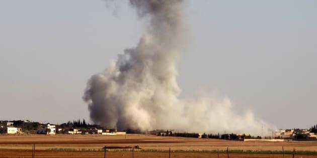 Un raid aérien au nord d'Alep en Syrie le 17 octobre 2016.