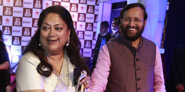 File Photograph of Union Minister of Human Resource Development Prakash Javadekar, and Rajasthan Chief Minister Vasundhara Raje at a function in Delhi in 2014.