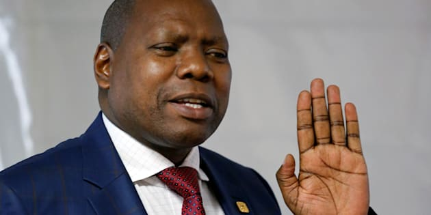 Zweli Mkhize, seen as a potential candidate to replace President Jacob Zuma as African National Congress head at a party conference in December, gestures as he speaks to students at the University of South Africa (UNISA) in Roodeport, South Africa October 4, 2017. REUTERS/Siphiwe Sibeko