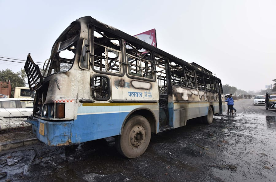 Haryana Roadways bus that was set on fire today near village Bhondsi allegedly by activists of Karni Sena, who were protesting against the release of film Padmaavat on January 24, 2018 in Gurgaon, India.