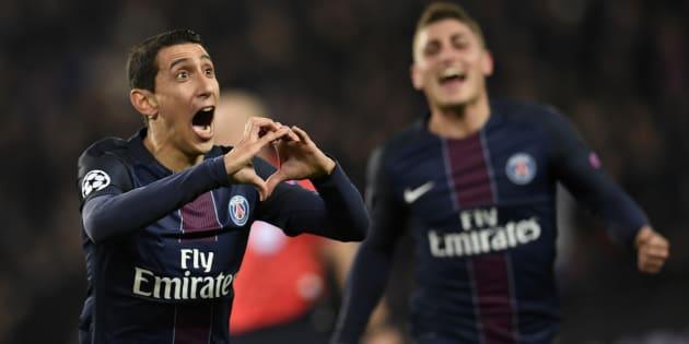 L'attaquant argentin Angel Di Maria célèbre son but lors du match aller entre le Paris Saint-Germain et le FC Barcelone au Parc des Princes