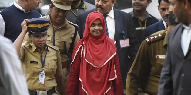 24-year-old Hadiya alias Akhila (In Red Dress) at the supreme court after hearing on November 27, 2017 in New Delhi, India.