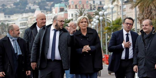 Marine Le Pen à l'occasion d'un déplacement à Nice en compagnie de l'ancien identitaire Philippe Vardon.