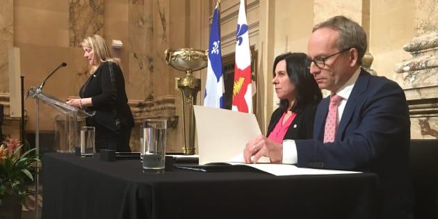 Lise Thériault, Valérie Plante et Martin Coiteux.