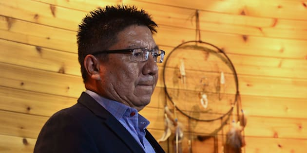 Nishnawbe Aski Nation Grand Chief Alvin Fiddler listens at a press conference after signing the Charter of Relationship Principles Governing Health System Transformation in Nishnawbe Aski Nation Territory at Health Canada headquarters in Ottawa on Monday.