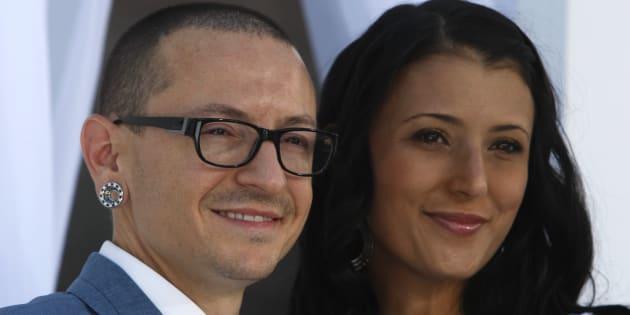 Chester Bennington et sa femme Talinda lors des Billboard Music Awards de Las Vegas, en mai 2012.