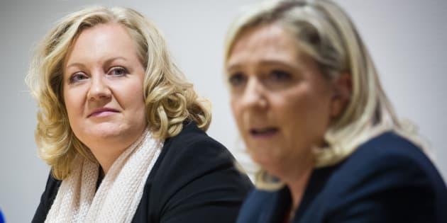 La présidente du Front national Marine Le Pen et l'eurodéputée Sophie Montel, qui a quitté le parti pour cofonder Les Patriotes avec Florian Philippot.