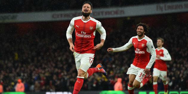 Olivier Giroud après son but inscrit face à Crystal Palace sur la pelouse de l'Emirates Stadium.