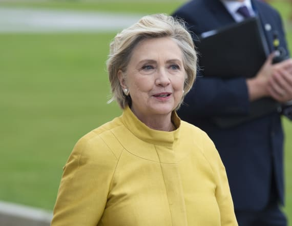 Hillary Clinton falls down stairs during book tour