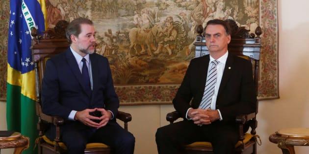 Jair Bolsonaro e o presidente do STF, Dias Toffoli, em encontro em Brasília, nesta quarta (7). REUTERS/Adriano Machado