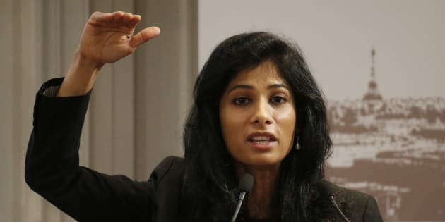 Gita Gopinath, professor at the economics department of Harvard University, gestures as she speaks during a conference of central bankers hosted by the Bank of France in Paris November 7, 2014.   REUTERS/Charles Platiau  (FRANCE - Tags: BUSINESS)