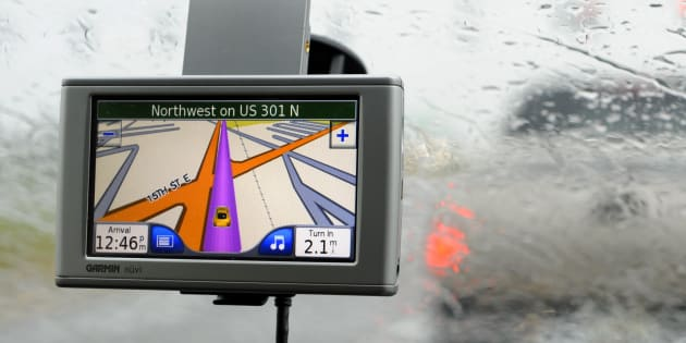 GPS system on the windshield of an automobile