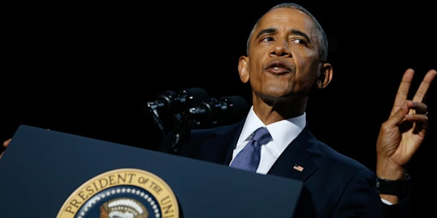 U.S. President Barack Obama delivers his farewell address in Chicago, Illinois, U.S., on Tuesday, Jan. 10, 2017. Obama blasted 'zero-sum' politics as he drew a sharp contrast with his successor in his farewell address Tuesday night, acknowledging that despite his historic election eight years ago his vision for the country will exit the White House with him. Photographer: Christopher Dilts/Bloomberg via Getty Images