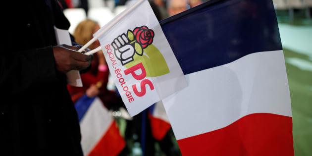 Le logo du Parti socialiste durant la convention de la Belle Alliance Populaire, à Paris, le 3 décembre 2016.