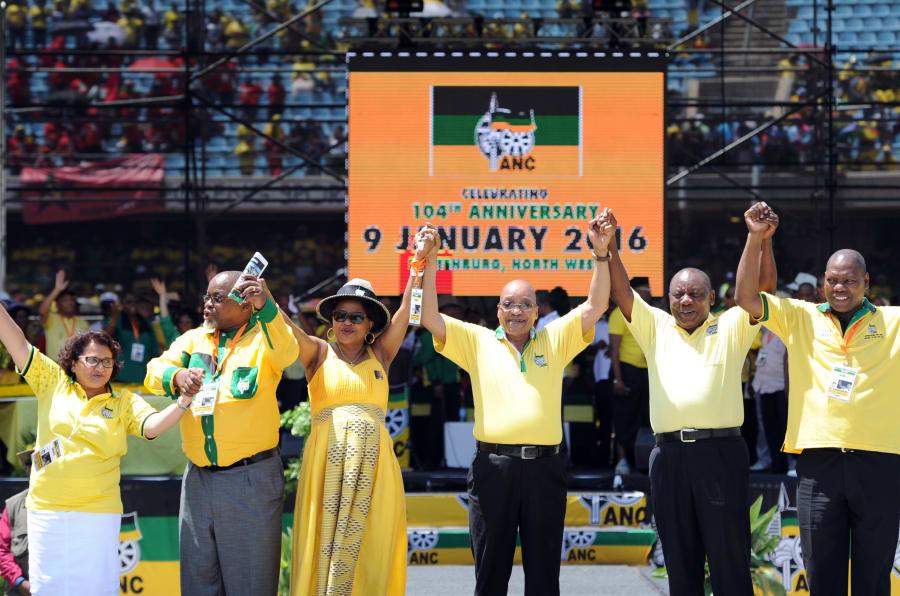 Jessie Duarte, Gwede Mantashe, Baleka Mbethe, President Jacob Zuma, Cyril Ramaphosa and Zweli Mkhize during the 104th ANC birthday celebration rally on January 09, 2016 at the Royal Bafokeng stadium.