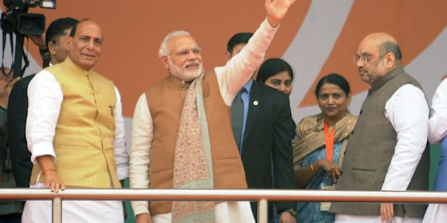 Prime Minister Narendra Modi along with BJP President Amit Shah, Union Home Minister Rajnath Singh and other senior BJP leaders during a Parivartan Rally at Ramabai Ambedkar Grounds, on January 2, 2017 in Lucknow, India.
