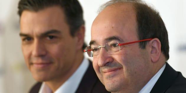 Pedro Sánchez y Miquel Iceta, durante un desayuno informativo celebrado en Madrid en 2017.